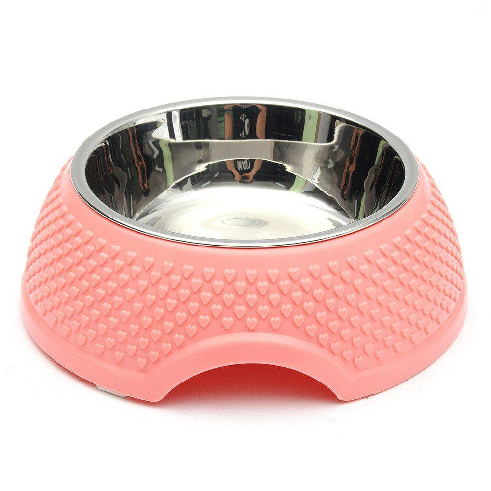 Stainless Steel Plastic Dog Food Bowl - PINK