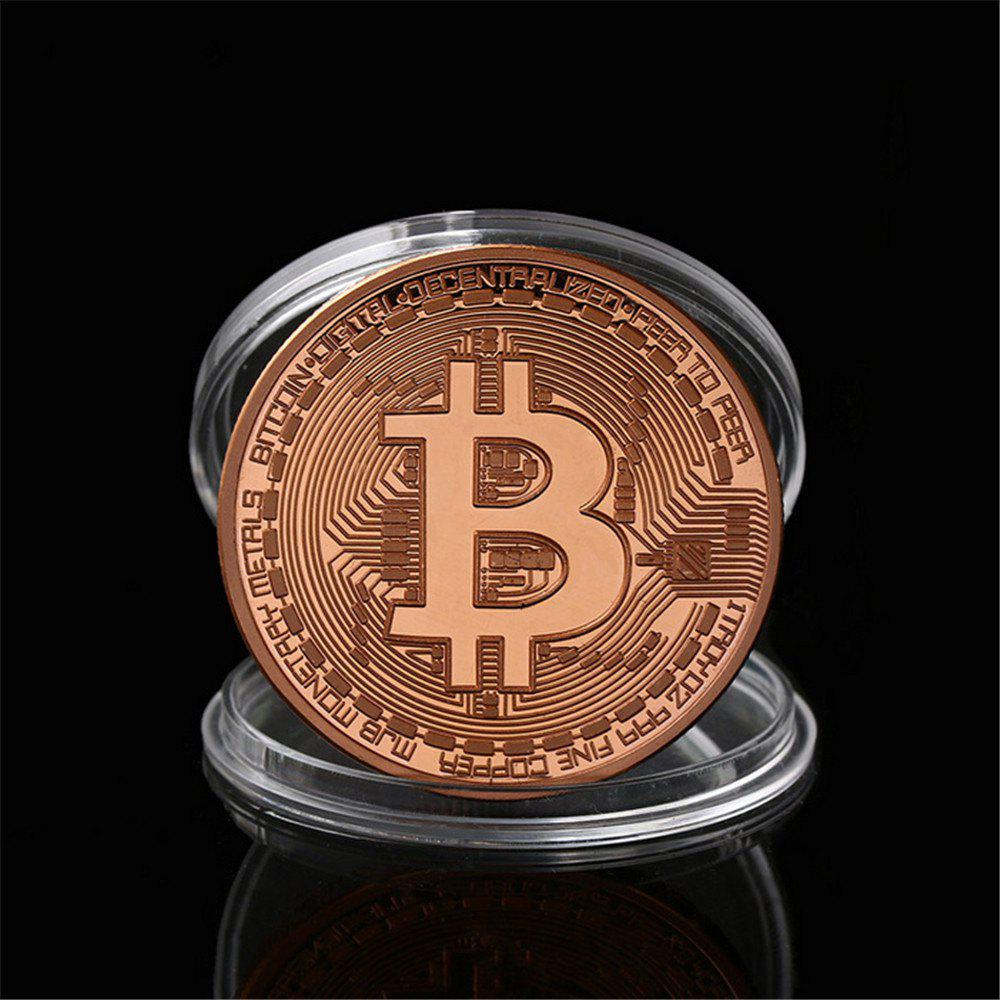 Gilt Wrought Iron Collection Gift Coin Virtual Currency Bitcoin Souvenir - ROSE GOLD
