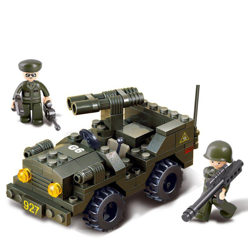 Sluban Building Blocks Educational Kids Toy Double Barrel Off Road Vehicle of Army 102PCS - MIXCOLOR