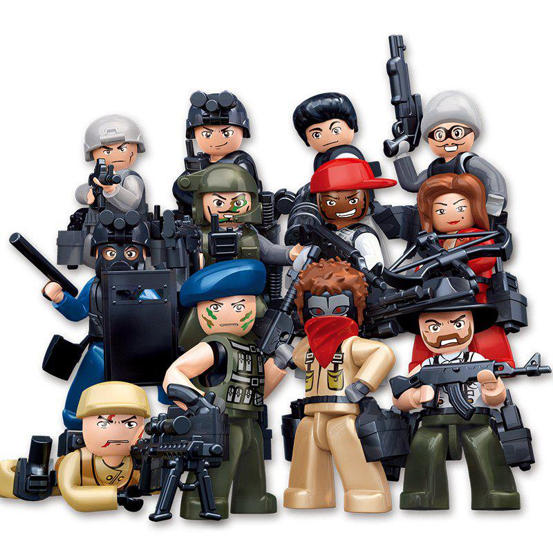 Sluban Building Blocks Educational Kids Toy 12 Models Assorted Police Set - MIXCOLOR