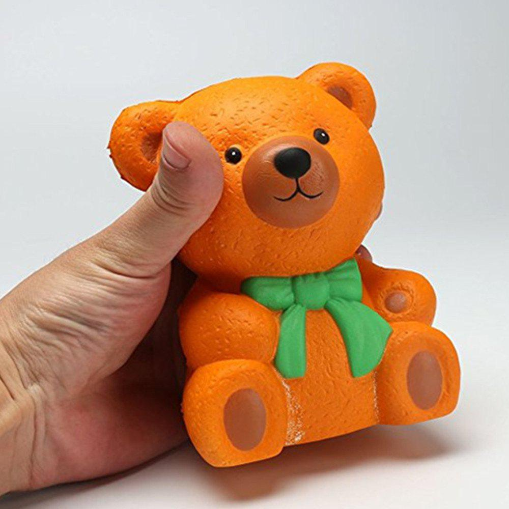 High Quality Squeeze Stretch Squishy Orange Bow Tie Bear Fruit Scented Slow Rising Gift Toy for Kids - ORANGE