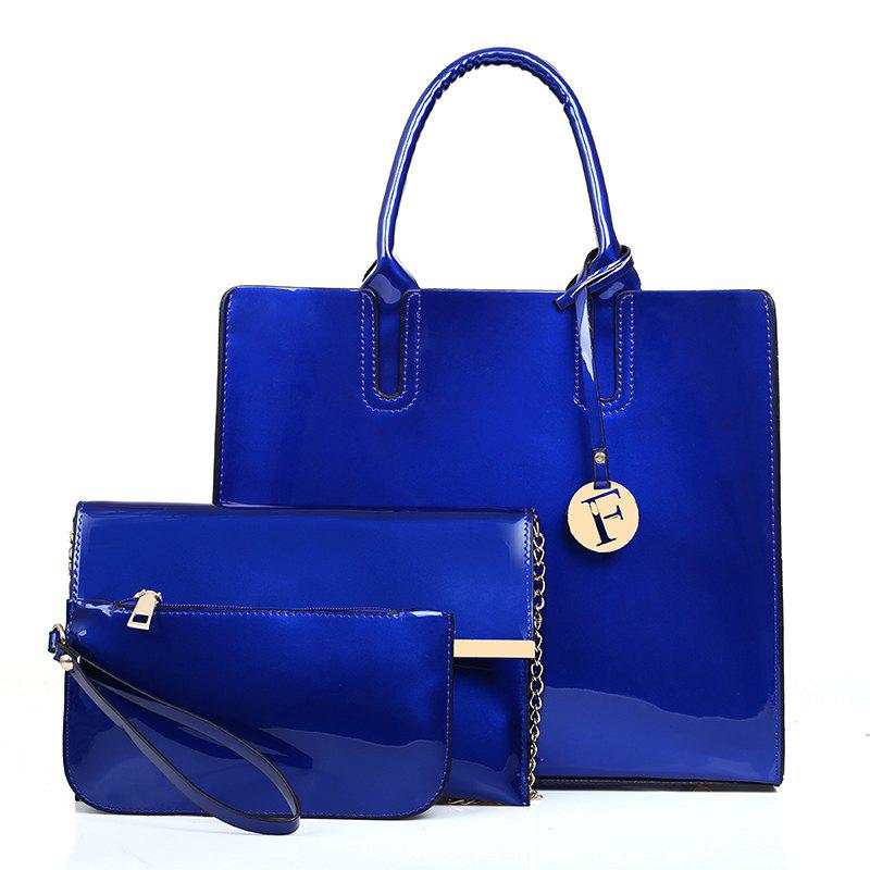 New Ladies Bag Bright Patent Leather Three-Piece Big Bag Fashion Hand-Held Color Joker Bag - BLUE
