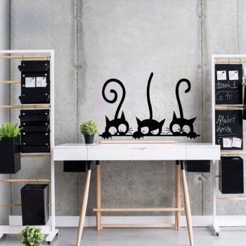Three Tailed Kittens Vinyl Wall Stickers for Kids Cartoon Cats Decals - BLACK 20 X 30 CM