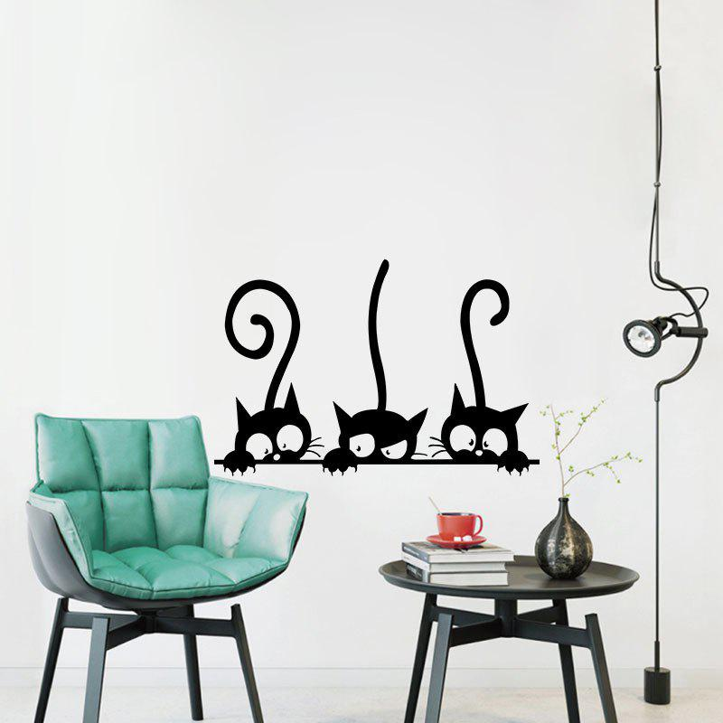 Three Tailed Kittens Vinyl Wall Stickers for Kids Cartoon Cats Decals opening window with cats vinyl wall stickers for kids room home decoration