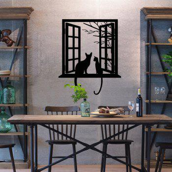 Opening Window with Cats Vinyl Wall Stickers for Kids Room Home Decoration - BLACK 43 X 52 CM