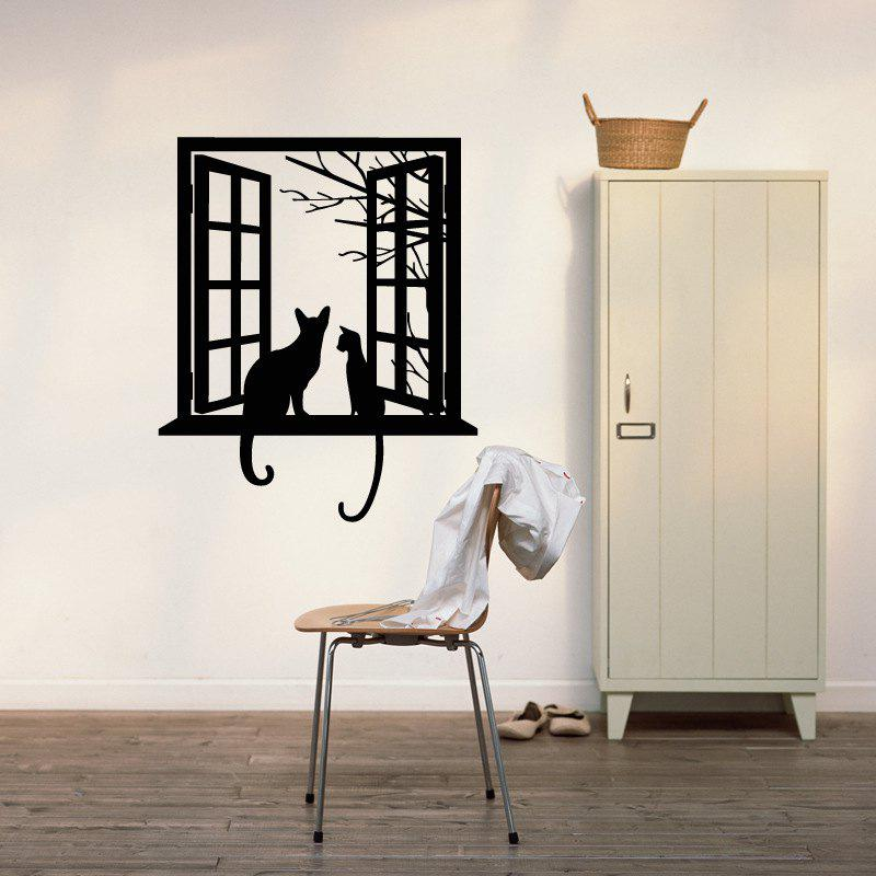 Opening Window with Cats Vinyl Wall Stickers for Kids Room Home Decoration opening window with cats vinyl wall stickers for kids room home decoration
