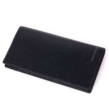 DANJUE Genuine Leather Wallets for Men'S Long Real Leather Business Purse Fashion Clutches Bag - BLACK