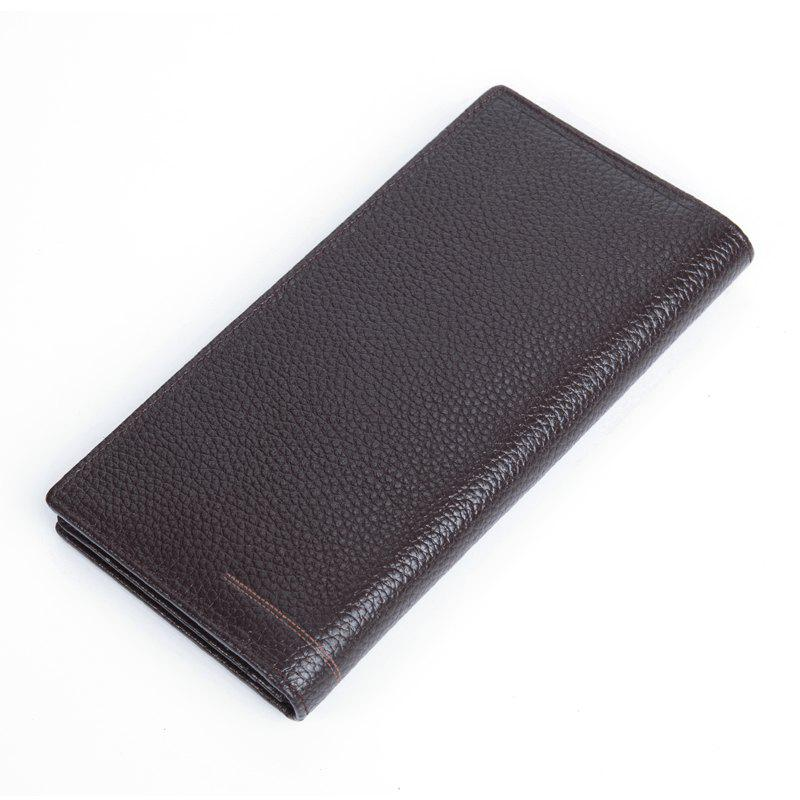 DANJUE Genuine Leather Wallets for Men'S Long Real Leather Business Purse Fashion Clutches Bag - BROWN