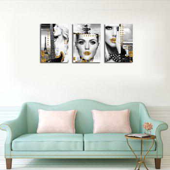 QiaoJiaHuaYuan No Frame Canvas Three Pieces of the Drawing of the Living Room Sofa Background Character Decoration Hangi - COLORMIX