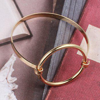 Fashion Big Exaggerated Jewelry Large Round Geometric Hollow Wild Simple Bracelet - GOLDEN
