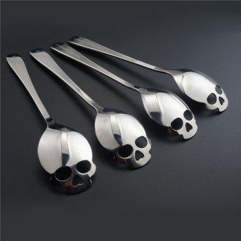 1pcs Skull Head Kitchen Utensils  Stainless Steel Spoon  Sugar Spoon Cutlery - ROSE GOLD