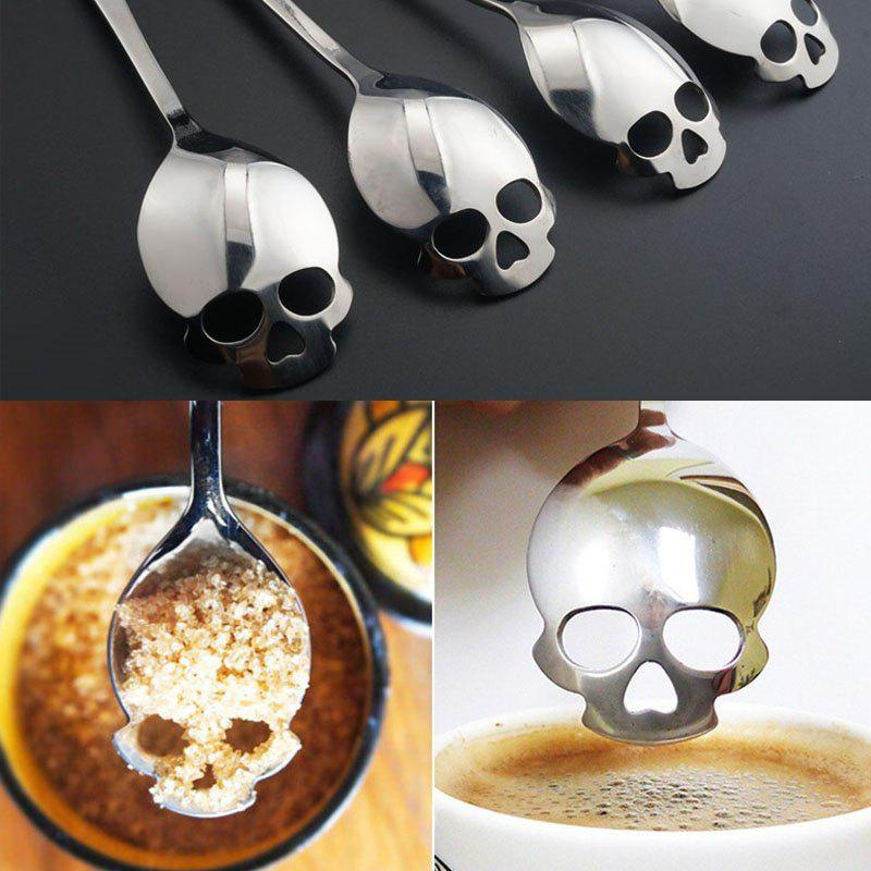 1pcs Skull Head Kitchen Utensils  Stainless Steel Spoon  Sugar Spoon Cutlery - BLACK