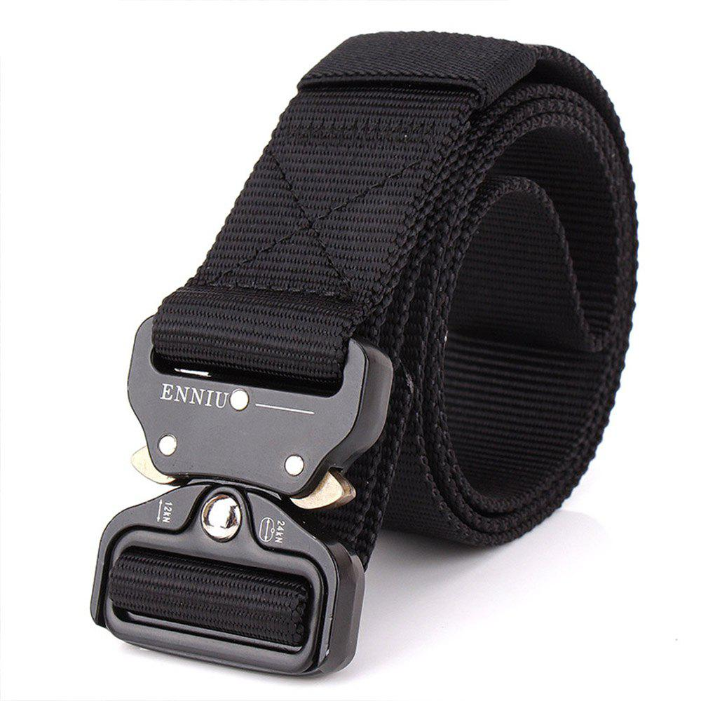 Outdoor Safety Belt Buckle Belt Training Speed Dry Pure Nylon Belt - BLACK