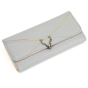 New Fashion Soft PU Women Wallet Long Thin Multiple Cards Holder Clutch Bags Fashion Female Coin Purse - LIGHT GRAY LIGHT GRAY