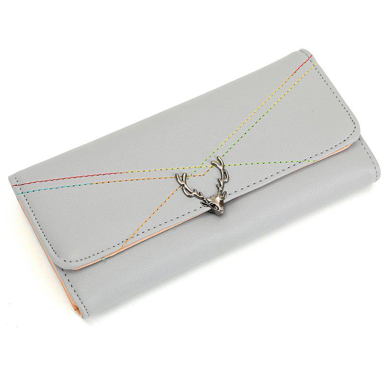 New Fashion Soft PU Women Wallet Long Thin Multiple Cards Holder Clutch Bags Fashion Female Coin Purse - LIGHT GRAY