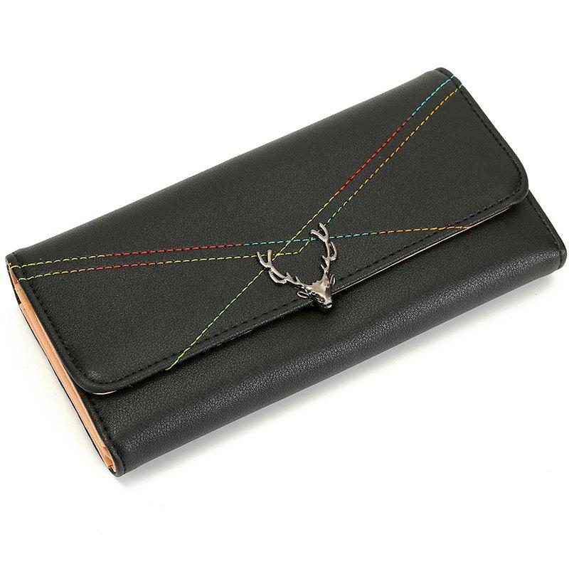 New Fashion Soft PU Women Wallet Long Thin Multiple Cards Holder Clutch Bags Fashion Female Coin Purse - BLACK