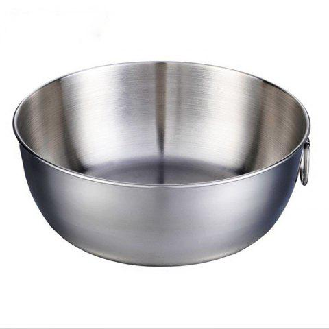 Stainless Steel Large Space Salad Sealed Crisper Cold Eggbeater Bowl - SILVER