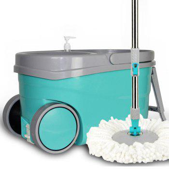 Stainless Steel Rotary Wheels Free Hand Wash Mop Mop Thickening - GREEN