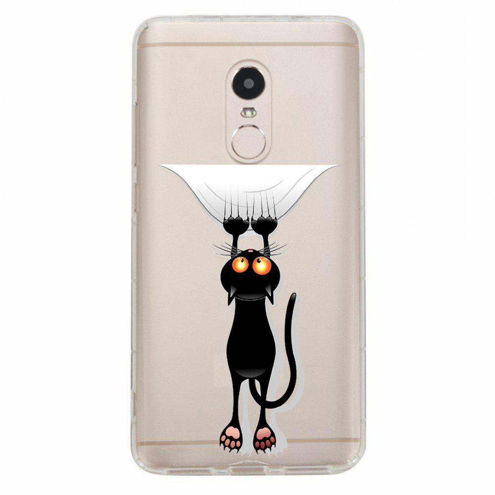 Case for Xiaomi Redmi Note 4 / 4X Transparent Black Cat Pattern TPU Phone Shell - TRANSPARENT