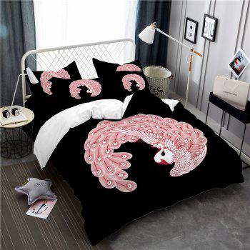 Embroidered Feather Series Four Pieces of Bedding - BLACK QUEEN