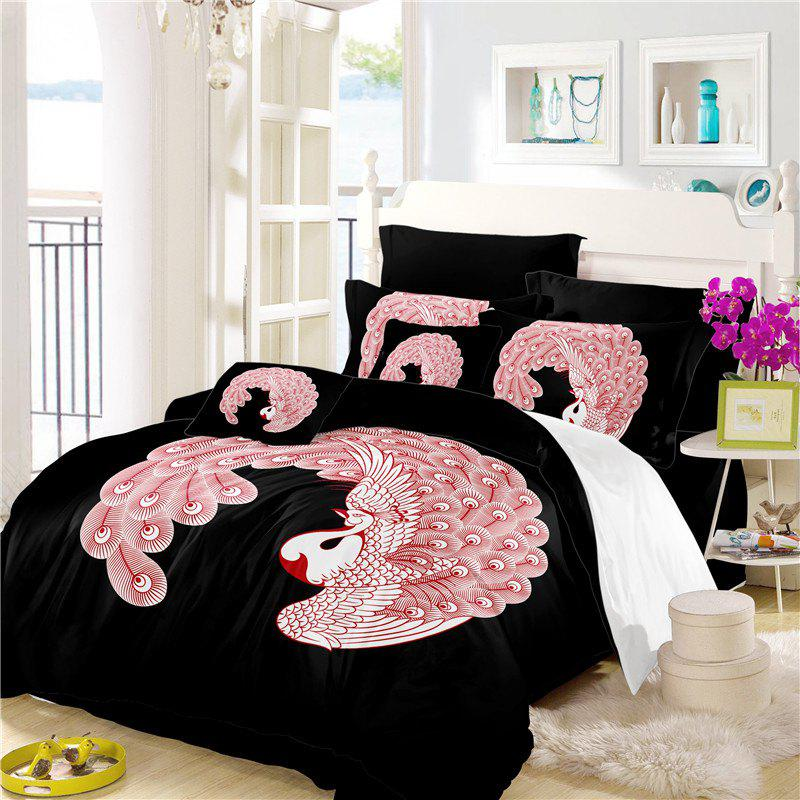 Embroidered Feather Series Four Pieces of Bedding - BLACK TWIN