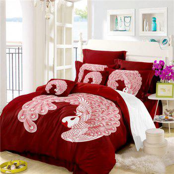 Embroidered Feather Series Four Pieces of Bedding - COPPER COPPER