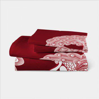 Embroidered Feather Series Four Pieces of Bedding - COPPER KING