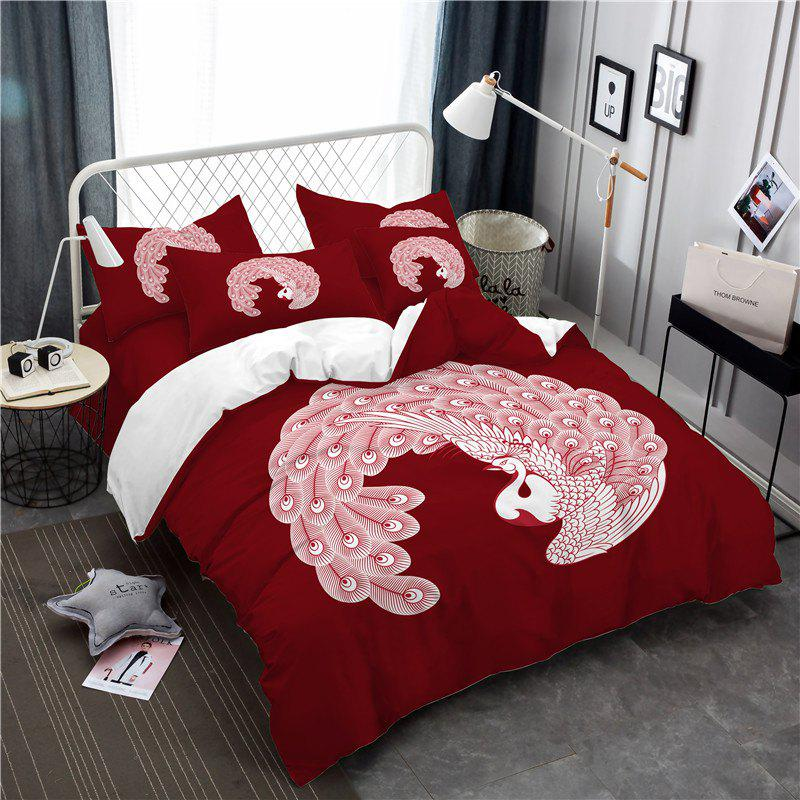 Embroidered Feather Series Four Pieces of Bedding - COPPER TWIN