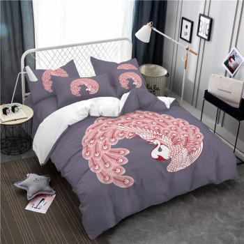 Embroidered Feather Series Four Pieces of Bedding - GRAY GRAY