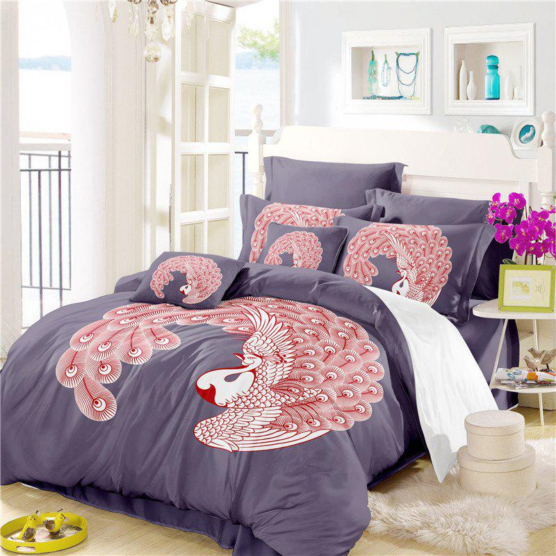 Embroidered Feather Series Four Pieces of Bedding - GRAY QUEEN