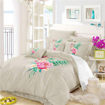 Embroidered and Painted Series Pattern Leaf Design Fresh  Comfortable High Grade Bedding - PALOMINO TWIN