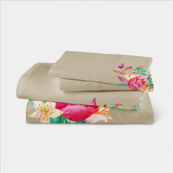 Embroidered and Painted Series Pattern Leaf Design Fresh  Comfortable High Grade Bedding - PALOMINO QUEEN