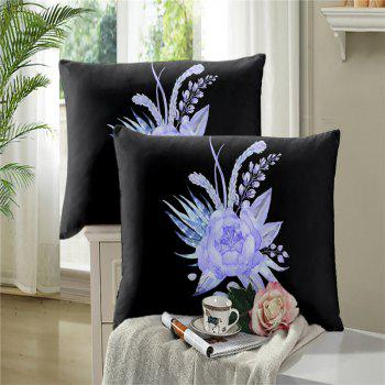 Imitation Embroidered and Painted Series Pattern Leaf Design Fresh and Comfortable High Grade Bedding set - BLACK FULL
