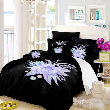 Imitation Embroidered and Painted Series Pattern Leaf Design Fresh and Comfortable High Grade Bedding set - BLACK QUEEN
