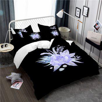 Imitation Embroidered and Painted Series Pattern Leaf Design Fresh and Comfortable High Grade Bedding set - BLACK BLACK