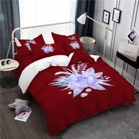Imitation Embroidered and Painted Series Pattern Leaf Design Fresh and Comfortable High Grade Bedding set - COPPER FULL