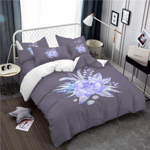 Imitation Embroidered and Painted Series Pattern Leaf Design Fresh and Comfortable High Grade Bedding set - GRAY TWIN