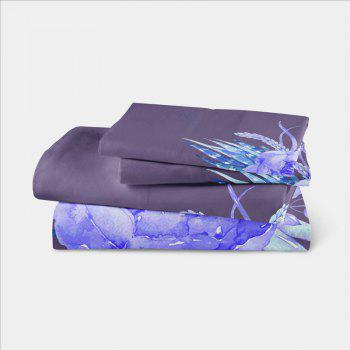Imitation Embroidered and Painted Series Pattern Leaf Design Fresh and Comfortable High Grade Bedding set - GRAY FULL