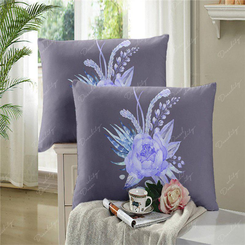 Imitation Embroidered and Painted Series Pattern Leaf Design Fresh and Comfortable High Grade Bedding set - GRAY QUEEN