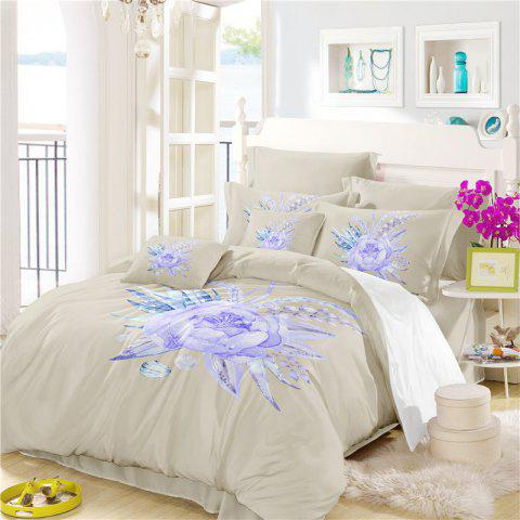 Imitation Embroidered and Painted Series Pattern Leaf Design Fresh and Comfortable High Grade Bedding set - PALOMINO KING