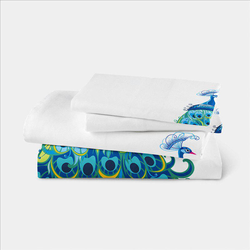 Embroidery Peacock Feathers Series Four Pieces of Bedding SK11 - WHITE KING