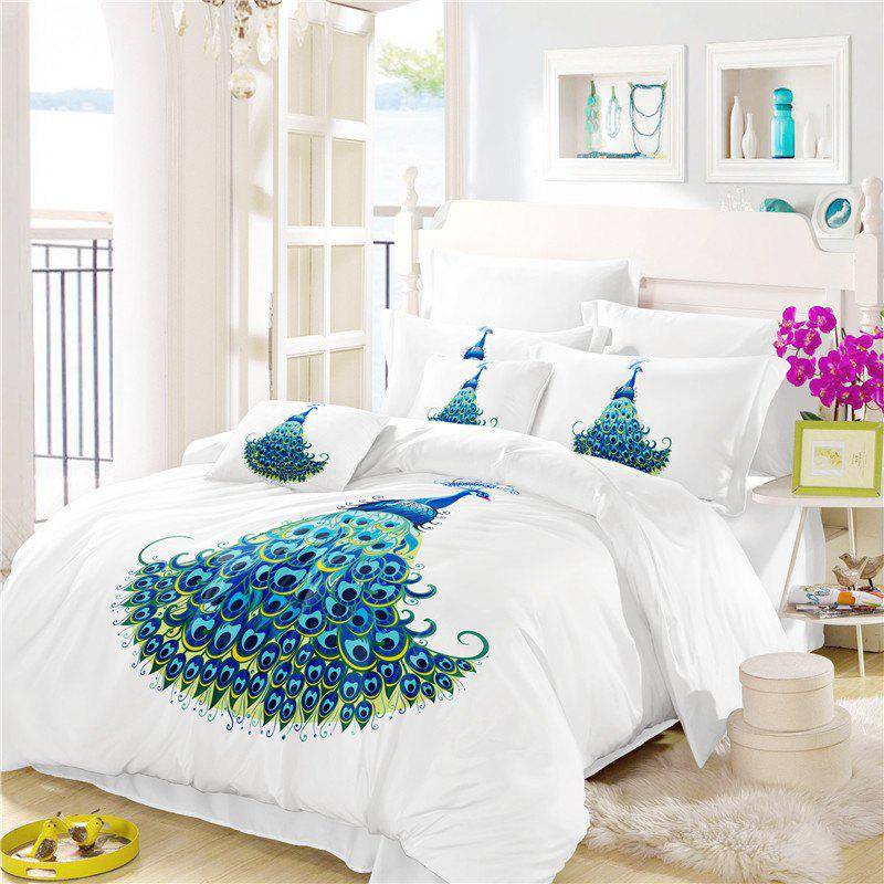 Embroidery Peacock Feathers Series Four Pieces of Bedding SK11 - WHITE TWIN