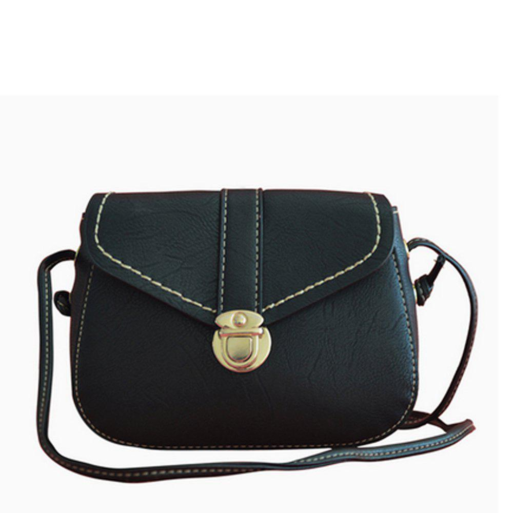 Women's Crossbody Bag Solid Mini Retro Metal Hasp New Bag - BLACK