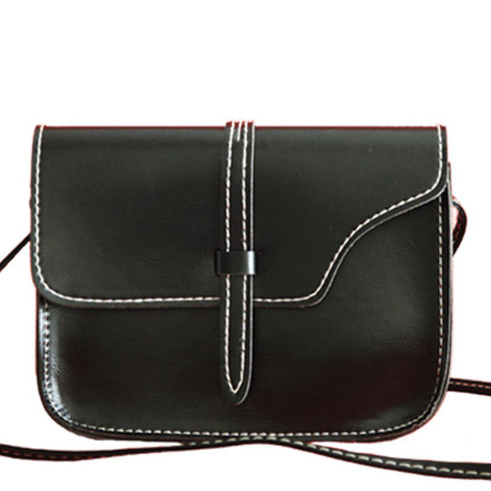 Women's Crossbody Bag Vintage Solid Belt Ornament Mini Bag - BLACK