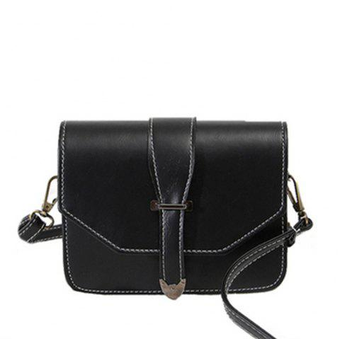 Femmes Crossbody Vintage Solid Cover Hasp Bref Style - Noir