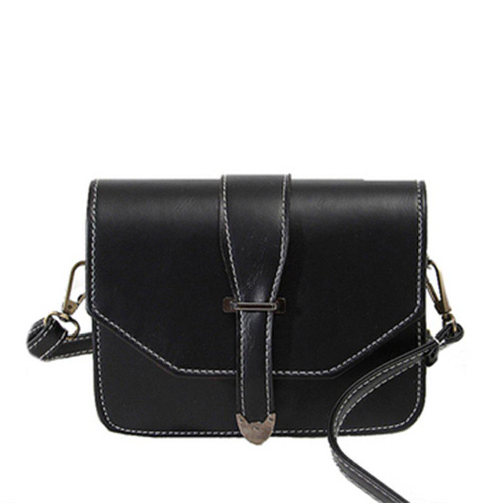 Women's Crossbody Vintage Solid Cover Hasp Brief Style - BLACK