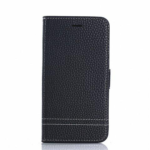 PU Leather Case for Huawei Honor 7X Lichi Grain Wallet Style with Stand Function and Card Holder - BLACK