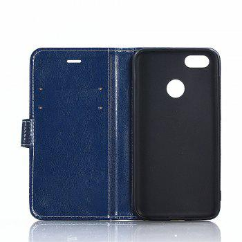 PU Leather Case for Huawei Honor 7X Lichi Grain Wallet Style with Stand Function and Card Holder - DEEP BLUE