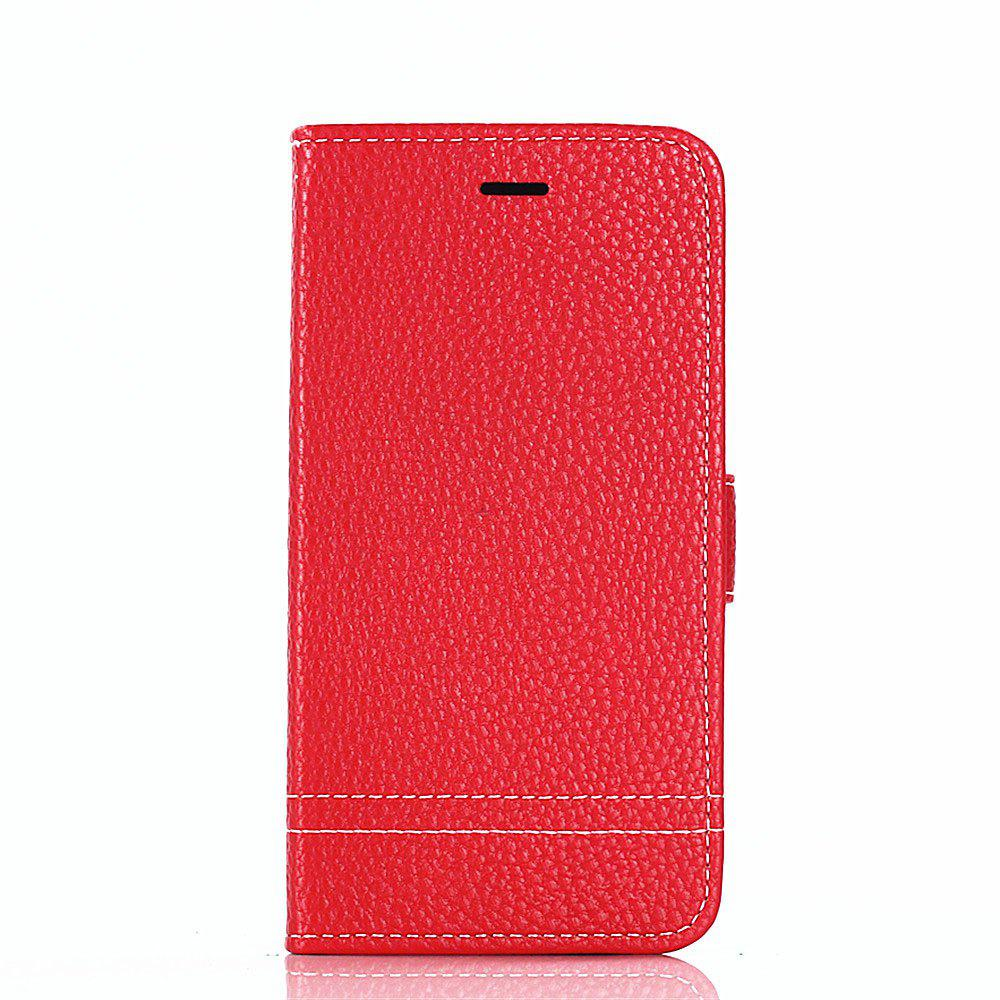 PU Leather Case for Huawei Honor 7X Lichi Grain Wallet Style with Stand Function and Card Holder - RED