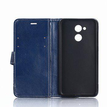 PU Leather Case for Huawei Honor 6A Lichi Grain Wallet Style with Stand Function and Card Holder - DEEP BLUE